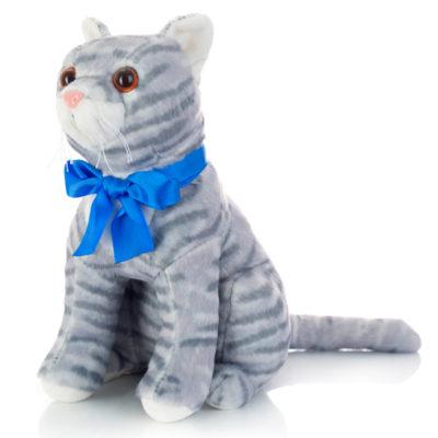 Кошка Василина с бантиком серая 9.277.1