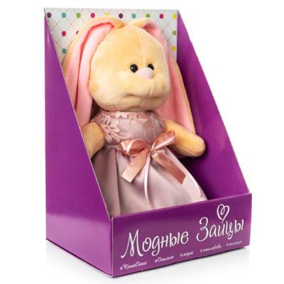 21.175.1 Заяц Катя в коробке розовое платье